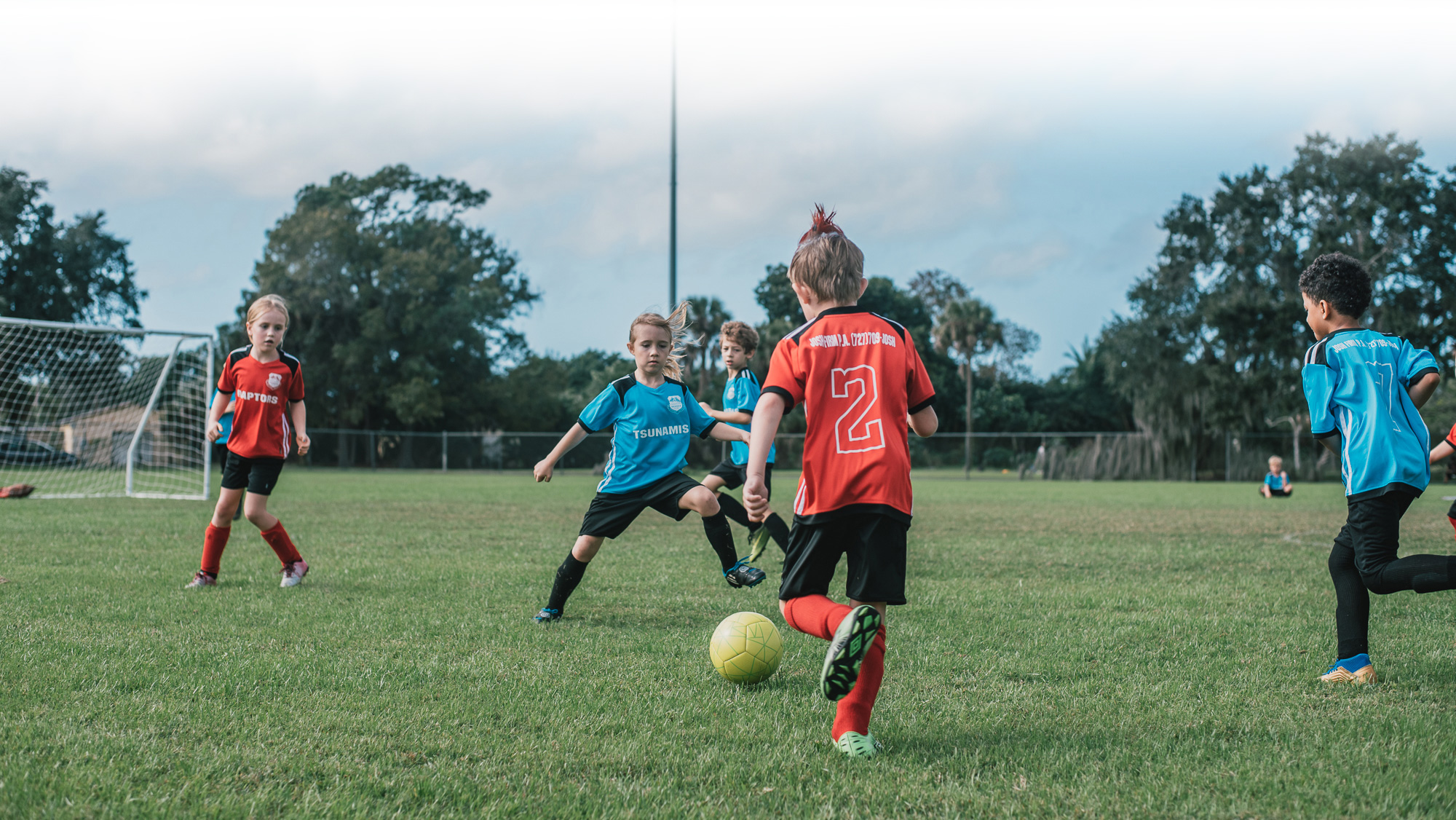 Under-8 youth soccer players at Southside Youth Soccer League in St. Petersburg, Florida